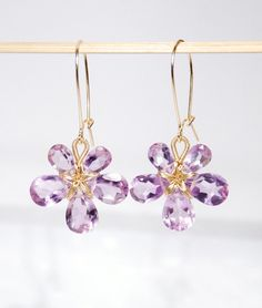 February birthstone earrings amethyst 14K gold por JWjewelrybox, $76,00