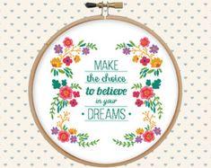 Floral wreath cross stitch pattern pdf  instant download