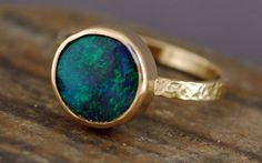 Black Opal in Recycled 18k Yellow Gold Ring / Specimental Design - Specimental Custom Raw Diamond and Rough Gem Jewelry