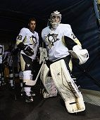 Brandon and Marc-Andre  Fleury hit the ice.