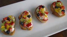 Fresh Fruit Bruschetta is supper yummy on a spring or summer evening :) Very light and flavorful.