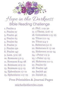 Hope in the darkness - Michelle Diercks Hope Bible Reading challenge and plan, Bible Readings, Christian Women's Devotionals, Free printable and journal page, Bible Study Plans, Bible Plan, Bible Study Tips, Bible Study Journal, Bible Lessons, Bible Reading Plans, Devotional Journal, Prayer Journal Printable, Bible Journaling For Beginners