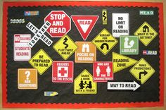 Reading Road Signs Bulletin Board. #ClassroomDecorations #BulletinBoard