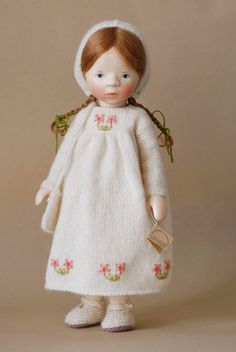 Girl in Embroidered White Knit H340 by Elisabeth Pongratz
