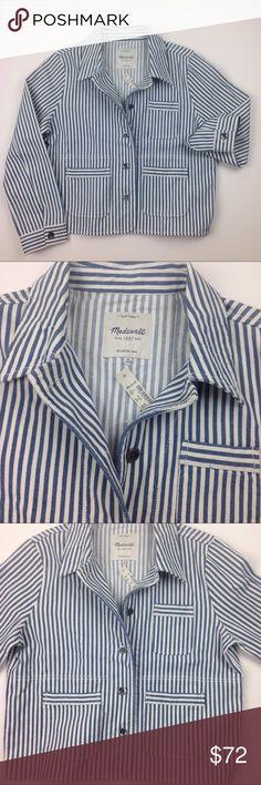 NWT Madewell Shrunken Workwear Jacket Poppy Stripe NWT. Machine wash. Cotton spandex. Shrunken fit. Inverted box pleat in back Madewell Jackets & Coats