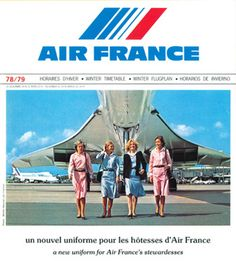 Air France Vintage Airline Timetable Advertising the Concorde from 1978