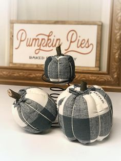 FREE SHIPPING is included in the price. (USA only) This listing is for a set of three soft fabric pumpkins.   • Made with Denim Blue and White Buffalo Check (as shown in first two photos) and filled with Poly-Fil. • Tied with 100% cotton yarn. • The stem is cut from black walnut branches from our own walnut grove • I will include a hand stamped fabric tag to attach to the large pumpkin if desired. Please refer to third photo for ideas. I can stamp any word, you are not limited to the ones in…