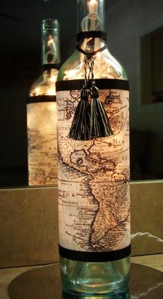 Diy Lamp with Map World Travel Wine Bottle crafts - accessories, table decoration - LoveItSoMuch.com
