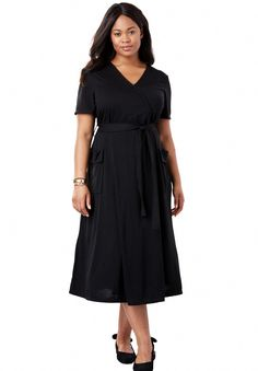 Meet your new essential dress. This ultra-flattering knit style gives the look of a wrap dress with a surplice neck and front flap on the skirt. An included Plus Size Wedding Guest Dresses, Plus Size Dresses, Plus Size Outfits, Wrap Dress Outfit, Dress Outfits, Work Outfits, Day Dresses, Short Dresses, Affordable Plus Size Clothing