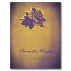 Purple yellow vintage flower wedding SAVE THE DATE Post Card