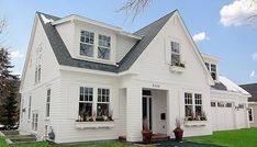 The typical farmhouse style exterior has the material combination you described.  The style goes nicely with the simple trimmed interior too.