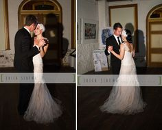 Love thedress and hairpiece Amanda and Kallon's Art Gallery Wedding