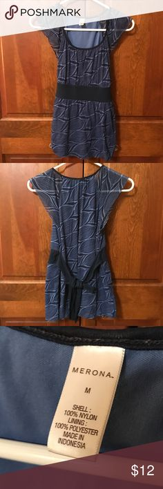 Summer Navy Top 2 tone blue color, wavy design, size M, ties in the back, flowy material, smoke free home Merona Tops Blouses