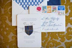 Unique, #vintage #weddinginvitations to invite guests to the beautiful #soiree of Dana & Matt!   #RoyalPoincianaChapel #PalmBeach #Wedding #calligraphy #letterpress #familycrest #oldfashion #stamps #theColony #royalblue #oldfashionedcar