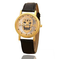 Wholesale Watch Women Men Hollow Skull Girls Quartz Watch Leather Strap Bracelet Gold Silver Case Clock reloj dama #Affiliate