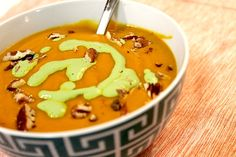 Curried Carrot Soup with Cilantro Crema