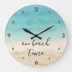 """Aqua Ocean + Sandy #Beach """"on beach time"""" Coastal Large Clock 