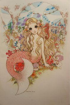 Mermaid princess by manga artist Macoto Takahashi. Mermaid Cove, Mermaid Fairy, Manga Mermaid, Mermaid Cartoon, Fantasy Mermaids, Mermaids And Mermen, Mermaid Illustration, Illustration Art, Manga Anime