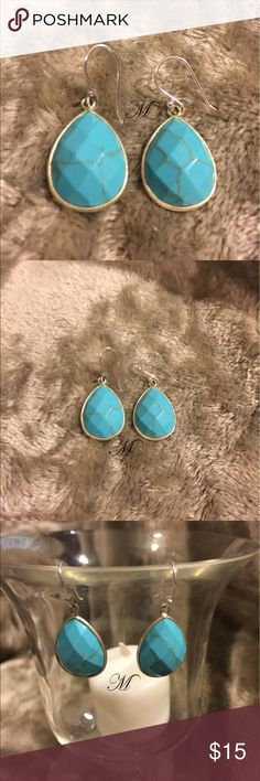 💰SALE Turquoise Drop Earrings I am not sure if these are real turquoise or not but I do believe they are sterling silver. In any case, they're really pretty and would look great with almost anything. Jewelry Earrings