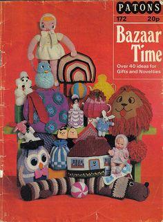 PDF - Patons 172 Bazaar Time Book -Over 40 Gifts Novelties - Vintage Crochet Knitting Pattern Vintage Knitting, Vintage Crochet, Vintage Crafts, Vintage Toys, Vintage Magazines, Knitting Patterns, Crochet Patterns, Pdf Patterns, Book Crafts