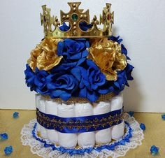 DIAPER CAKE Centerpiece With Crown For Prince Baby Shower / Royal Blue