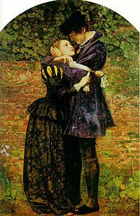 Millais: Huguenot Lovers on St Bartholomew's Day (Massacre of the French Huguenot's took place in 1572).