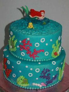 Birthday Cakes - Mermaid cake for my granddaughter's 3rd birthday.  Buttercream with fondant accents