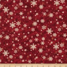 Father Christmas Metallic Snowflakes Red from @fabricdotcom  Designed by Liz Goodrick-Dillon for Quilting Treasures, this cotton print fabric is perfect for quilting, apparel and home decor accents. Colors include dark red, metallic gold and white.