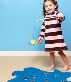 SINGING TIME IDEA FOR NURSERY: Fishing game - songs on the back of lids.