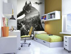 Batman Wallpaper Mural.  Comes in 2 easy to hang pieces.  Height 2.32m x  Width 1.58m.  Can be cut to fit smaller size.  Quick and Easy to hang.  £24.99 plus delivery.  Please shop at the link below. http://stores.ebay.co.uk/Littlebrook-Home?_rdc=1