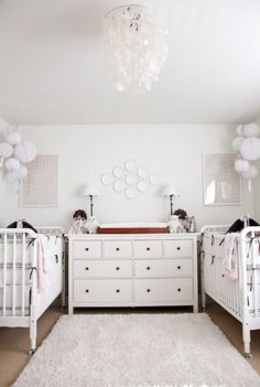 neutral twin nursery, capiz pendant, white and tan nursery