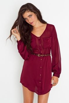 Crimson Shirt Dress
