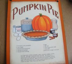 Retro Vintage Primitive Country KITCHEN  Sign PUMPKIN Pie Recipe Wall Decor Free Shipping via Etsy