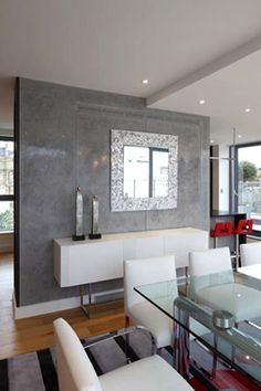 Dining room... love the look...very contemporary, clean, and elegant. Love the white with the gray and just a pop of color