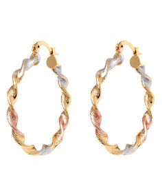 Another great find on #zulily! Tri-Tone Twisted Hoop Earrings #zulilyfinds