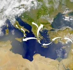 Genetic evidence in modern populations suggests that Neolithic farmers from the Levant traveled mostly by sea to reach Europe. By 7,000 B.C., they were introducing their ideas and their genes to the native Paleolithic people, who had migrated to the continent 30,000 to 40,000 years before.