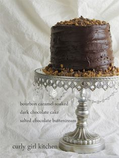 Curly Girl Kitchen: Bourbon Caramel Soaked Dark Chocolate Cake