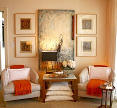 Domicile Interior Design.  Great way to add color and interest to a nuetral space.