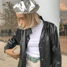 metallic beret, fashion, street style, french style, it girl, outfit, ootd, edgy style, outfit inspo