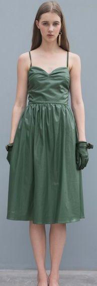 Army Green Spaghetti Straps A-line Midi PU Dress