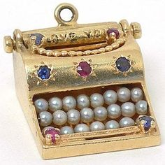 VINTAGE 14K GOLD GEMS MOVEABLE 3D TYPEWRITER CHARM