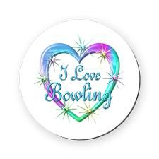I Love Bowling Cork Coaster