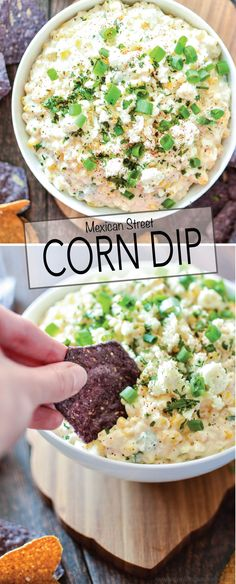 Corn Dip Mexican Street Corn Dip is the perfect appetizer to serve at your Cinco de Mayo party!Mexican Street Corn Dip is the perfect appetizer to serve at your Cinco de Mayo party! Mexican Dishes, Mexican Food Recipes, Ethnic Recipes, Mexican Snacks, Mexican Food Appetizers, Mexican Finger Foods, Mexican Sopes, Mexican Drinks, Dinner Recipes