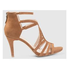 Brown Sundance Heels ($76) ❤ liked on Polyvore featuring shoes, pumps, party shoes, strappy stilettos, summer pumps, brown high heel shoes and stiletto high heel shoes