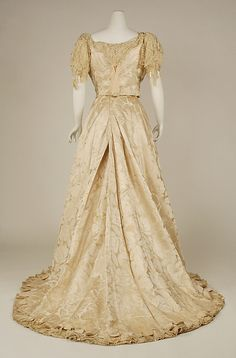 Wedding dress Date: 1890s Culture: American Medium: silk, cotton, beads