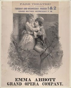 Black and white print; full length portrait of two lovers on a balcony with tree branches and leaves in the foreground. Small printed slip adds information about performace at Park Theatre.