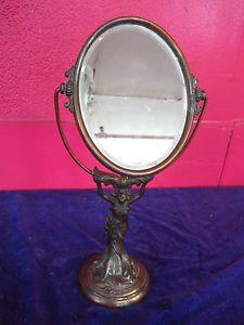 Classic Art Deco Nouveau Bronze Iron Figural Woman Vanity Table Standing Mirror in Antiques, Decorative Arts, Mirrors | eBay