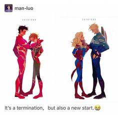 Steve - Carol - Tony - Peter - Ironman and captian america Now its Spiderman and captain marvel. Wanda Marvel, Marvel Funny, Marvel Dc Comics, Marvel Heroes, Marvel Movies, Marvel Avengers, Spiderman, Avengers Memes, The Villain