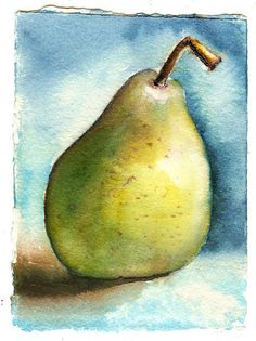 ...no green in this pear...yellow and blue...