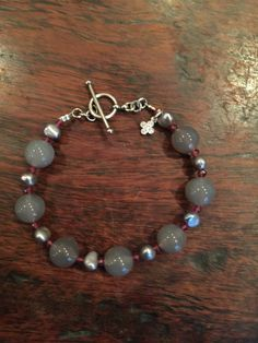 Grey Chalcedony fresh pearls and Rhodolite by LaSireneDesigns